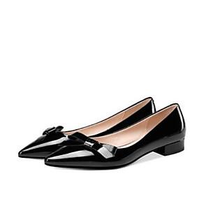voordelige Damesschoenen met platte hak-Dames Nappaleer / Lakleer Herfst Zoet / minimalisme Platte schoenen Blokhak Vierkante Teen Siernagel Zwart / Amandel
