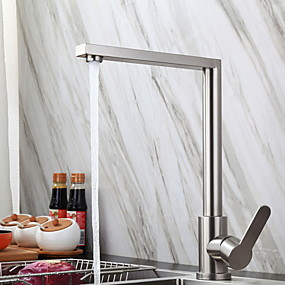 cheap Christmas Deals-Kitchen faucet - Single Handle One Hole Stainless Steel Standard Spout Ordinary Kitchen Taps
