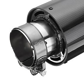billige Tilbehør til eksteriør-63mm inlås universell glanset karbonfiber bil eksosrør hale lyddempende ende tips