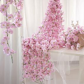 preiswerte Haus Dekor-Künstliche Blumen 1 Ast Wandbefestigung Suspendiert Party Hochzeit Sakura Blumenkorb