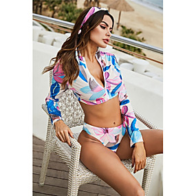 cheap Surfing, Swimming & Diving-Women's Rashguard Swimsuit Spandex Swimwear UV Sun Protection Quick Dry Stretchy Long Sleeve Front Zip - Swimming Surfing Snorkeling Optical Illusion Summer