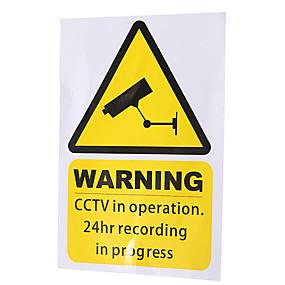 billige Tilbehør til eksteriør-5 stk. Gule vindus advarsels klistremerker skilt decal cctv i drift
