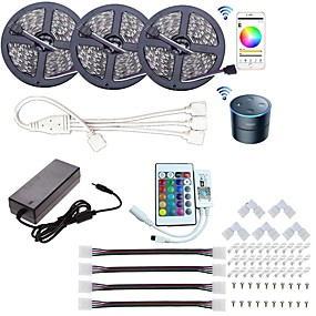 cheap WiFi Control-15M(3x5m) Wifi LED Light Strips LED Kit RGB Tiktok Lights Led Controller Power WiFi Wireless Smart Phone Control 5050 10mm 5050 SMD Waterproof IP65 Flexible Light DC 12V Strip Lamp