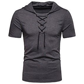 cheap Athleisure Wear-Men's T shirt Shirt Solid Colored Lace up Short Sleeve Daily Tops Basic Shirt Collar White Red Black