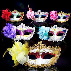 preiswerte Festival & Carnival Costumes-Venezianische Maske Maskenmaske Halbe Maske Inspiriert von Cosplay Venezianisch Purpur Gelb Halloween Halloween Karneval Maskerade Erwachsene Damen Weiblich