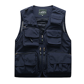 cheap Camping, Hiking & Backpacking-Men's Hiking Fishing Vest Work Vest Outdoor Casual Lightweight with Multi Pockets Spring Fall Winter Summer Travel Cargo Safari Photo Wear Resistance Breathable Waistcoat Jacket Coat Top