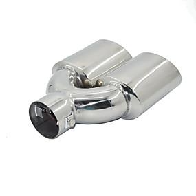 billige Tilbehør til eksteriør-universell krom rustfritt stål bil eksos dobbelt røret 60mm