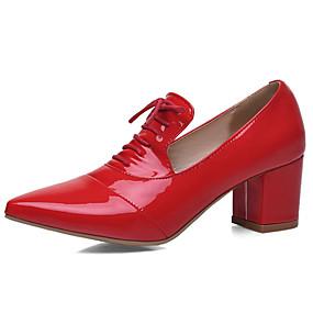 voordelige Dames Oxfords-Dames Lakleer Lente & Herfst Brits Oxfords Blokhak Gepuntte Teen Strik Zwart / Rood Licht / Roze