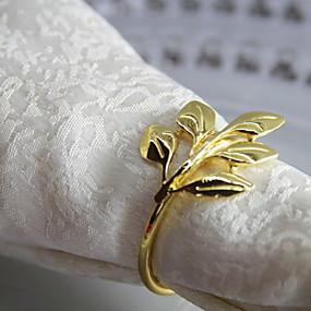 preiswerte Servietten-Ring-Klassisch Metal Kreisförmig Servietten Ring Solide Blume Tischdekorationen 12 pcs