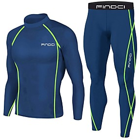 cheap Running, Jogging & Walking-FINDCI Men's Compression Suit Winter Running Active Training Gym Workout Sportswear Royal Blue Navy Blue Lightweight Breathable Sweat-wicking Base layer Compression Shirt and Pants Long Sleeve