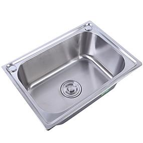 povoljno Kuhinjski sudoperi-Kitchen Sink- Nehrđajući čelik Brushed Pravokutno undermount Jedna posuda