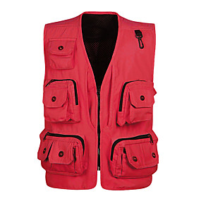 cheap Camping, Hiking & Backpacking-Men's Hiking Vest / Gilet Fishing Vest Jacket Top Outdoor Quick Dry Lightweight Breathable Sweat wicking Spring, Fall, Winter, Summer POLY Terylene Solid Color Black Red Army Green Hunting Fishing
