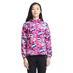 cheap Camping, Hiking & Backpacking-Women's Hiking Jacket Summer Spring, Fall, Winter, Summer Outdoor Patchwork Windproof Rain Waterproof Quick Dry Breathable Jacket Top Elastane Single Slider Hunting Hiking Climbing Purple Fuchsia