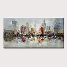 preiswerte Wand- & Ölbilder-Hang-Ölgemälde Handgemalte - Abstrakt Landschaft Modern Ohne Innenrahmen