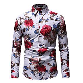 cheap Athleisure Wear-Men's Shirt Graphic Print Long Sleeve Going out Tops Streetwear Boho White Black