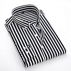 povoljno Muške košulje-Muškarci Dnevno Majica Prugasti uzorak Dugih rukava Tops Klasični ovratnik Obala Crn Plava