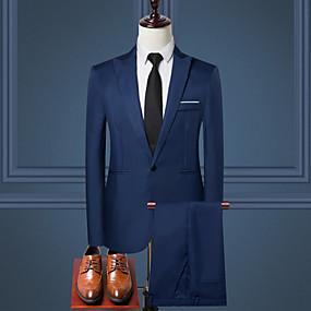 preiswerte Herrenmode-Herrn Arbeit Standard Anzüge, Solide Hemdkragen Langarm Polyester Schwarz / Wein / Leicht Blau