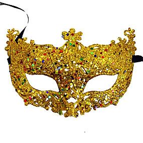 preiswerte Festival & Carnival Costumes-Venezianische Maske Maskenmaske Halbe Maske Inspiriert von Cosplay Schwarz Golden Pailletten Halloween Halloween Karneval Maskerade Erwachsene Damen Weiblich
