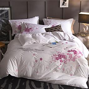 preiswerte Blumen-Duvet-Abdeckungen-Bettbezug-Sets Blumen / Zeitgenössisch Baumwolle Stickerei 4 StückBedding Sets