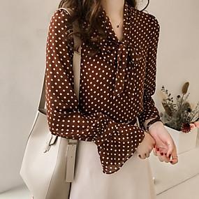 preiswerte Damenbekleidung-Damen Punkt / Geometrisch - Grundlegend Übergrössen Hemd, V-Ausschnitt Braun