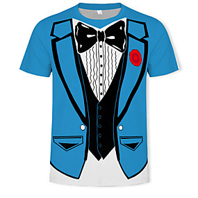 cheap Athleisure Wear-Men's T shirt Graphic Simulation Print Short Sleeve Daily Wear Tops Basic Streetwear Blue