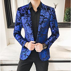 abordables Blazers & Costumes Homme-Homme Revers Cranté Blazer Fleurie Bleu 50 / 60 / 54
