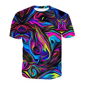 preiswerte Plan Your Summer-Herrn 3D / Regenbogen T-shirt, Rundhalsausschnitt Druck Regenbogen / Kurzarm / Sommer