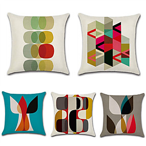 cheap Slipcovers-Set of 5 Cotton / Linen Pillow Case, Polka Dot Damask Geometic Artistic Style Abstract Throw Pillow