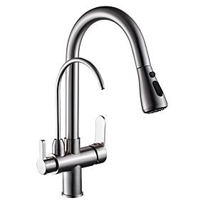 preiswerte Veredelte Küchenarmaturen-Armatur für die Küche - Zwei Griffe Ein Loch Gebürsteter Nickel Pull-out / Pull-down Becken