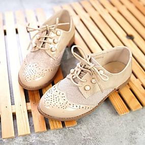 ราคาถูก Kids' Oxfords-เด็กผู้หญิง ความสะดวกสบาย PU รองเท้า Oxfords เด็กวัยหัดเดิน (9m-4ys) / เด็กน้อย (4-7ys) / Big Kids (7 ปี +) หมุดย้ำ น้ำเงินเข้ม / Almond ฤดูใบไม้ผลิ / ตก / ยาง