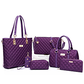 cheap Shoes & Bags-Women's Zipper PU Bag Set Bag Sets Solid Color 6 Pieces Purse Set Black / Purple / Fuchsia / Fall & Winter
