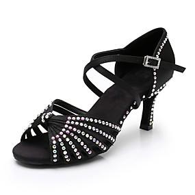 preiswerte Schuhe und Taschen-Damen Tanzschuhe Satin Schuhe für den lateinamerikanischen Tanz Crystal / Strass Absätze Schlanke High Heel Braun / Rot / Blau / Leistung / Praxis