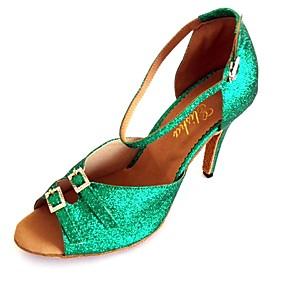 preiswerte Schuhe und Taschen-Damen Tanzschuhe Kunststoff Schuhe für den lateinamerikanischen Tanz Kristall Verzierung Absätze Schlanke High Heel Maßfertigung Grün