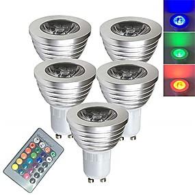 billige LED smartpærer-5pcs 3 W LED-spotpærer Smart LED-lampe 250 lm E14 GU10 GU5.3 1 LED perler SMD 5050 Smart Mulighet for demping Fjernstyrt RGBW 85-265 V / RoHs