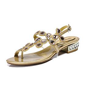preiswerte Sandalen mit flachen Absätzen-Damen PU Sommer Retro / Süß Sandalen Niedriger Heel Offene Spitze Strass / Glitter / Schnalle Gold / Schwarz / Dunkellila / Party & Festivität