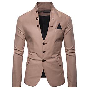 ราคาถูก New Arrivals-สำหรับผู้ชาย เสื้อคลุมสุภาพ, สีพื้น คอแสตนด์ ฝ้าย / เส้นใยสังเคราะห์ ทับทิม / สีน้ำเงินกรมท่า / สีกากี / เพรียวบาง
