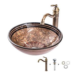 billige Frittstående vask-Baderomsvask / Baderomskran / Baderom Monteringsring Antikk - Herdet Glass Rund Vessel Sink