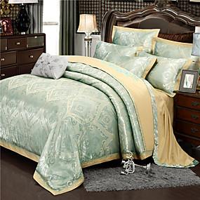 cheap High Quality Duvet Covers-Duvet Cover Sets Luxury / Contemporary Silk / Cotton Blend Jacquard 4 PieceBedding Sets / 300 / 4pcs (1 Duvet Cover, 1 Flat Sheet, 2 Shams)