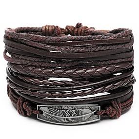 cheap Men's Jewelry New Arrivals-4pcs Men's Leather Bracelet Retro Rope Plaited Wrap Feather Unique Design Hip-Hop PU(Polyurethane) Bracelet Jewelry Brown For Gift Daily