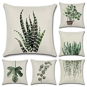cheap Slipcovers-Set of 6 Cotton / Linen Pillow Case, Botanical Bohemian Style Retro Antique Rustic Throw Pillow