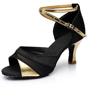 preiswerte Up to 70% off for women's shoes-Damen Tanzschuhe Satin Schuhe für den lateinamerikanischen Tanz Farbaufsatz Absätze Keilabsatz Maßfertigung Schwarz und Gold / Schwarz und Silbern / Schwarz / Rot / Leistung / Leder