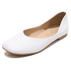 voordelige Damesschoenen met platte hak-Dames PU Lente zomer Informeel / Brits Platte schoenen Platte hak Vierkante Teen Geel / Bruin / Roze
