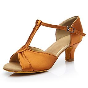 ราคาถูก Dance Shoes-สำหรับผู้หญิง รองเท้าเต้นรำ ซาติน ลาติน ส้น ส้นCuban ตัดเฉพาะได้ สีเงิน / สีบานเย็น / สีน้ำตาล / Performance / หนังสัตว์ / ฝึก