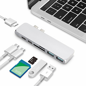 cheap Cell Phone Cables-USB C HUB Type C HUB Splitter Dual Multi-function Card Reader Multiport Adapter USB-C Hub SD Card HDMI Ultra Slim Type C Hub for macbook2018 2019 2020 Macbook Pro2016  2017 2018 2019 2020