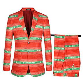 preiswerte Top Weddings & Events-Orange Mit Mustern Weite Passform Baumwolle / Polyster Anzug - Fallendes Revers Einreiher - 2 Knöpfe / Anzüge