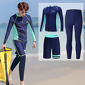 cheap Surfing, Swimming & Diving-YOBEL Men's Rash Guard Dive Skin Suit Diving Suit UV Sun Protection Quick Dry Full Body 3-Piece - Swimming Diving Surfing Snorkeling Solid Colored Letter & Number Autumn / Fall Winter Spring / Summer