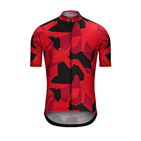 cheap Cycling & Motorcycling-21Grams Men's Short Sleeve Cycling Jersey Summer Black / Red Camo / Camouflage Bike Jersey Top Back Pocket Sports Clothing Apparel / High Elasticity