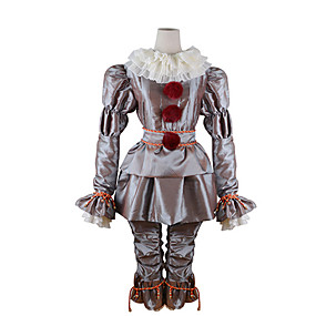 cheap Cosplay Costumes-Burlesque Clown Pennywise Cosplay Costume Outfits Adults' Men's Cosplay Halloween Halloween Carnival Masquerade Festival / Holiday Polyster Silver Men's Women's Easy Carnival Costumes Solid Colored