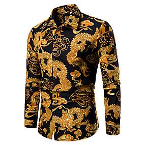 cheap Athleisure Wear-Men's Shirt Graphic Geometric Tribal Jacquard Print Tops Classic Collar Blue Red Black