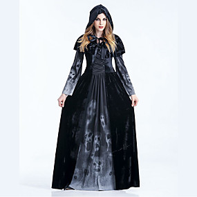 cheap Cosplay Costumes-Witch Dress Cosplay Costume Cloak Adults' Women's Dresses Vacation Dress Halloween Halloween Carnival Masquerade Festival / Holiday Polyster Black Women's Easy Carnival Costumes Patchwork